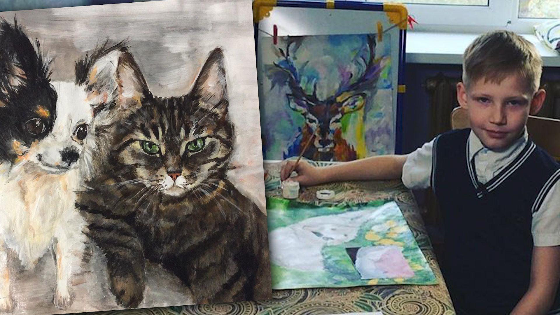 Kleiner Tierfreund: Junge malt Bilder für einen guten Zweck