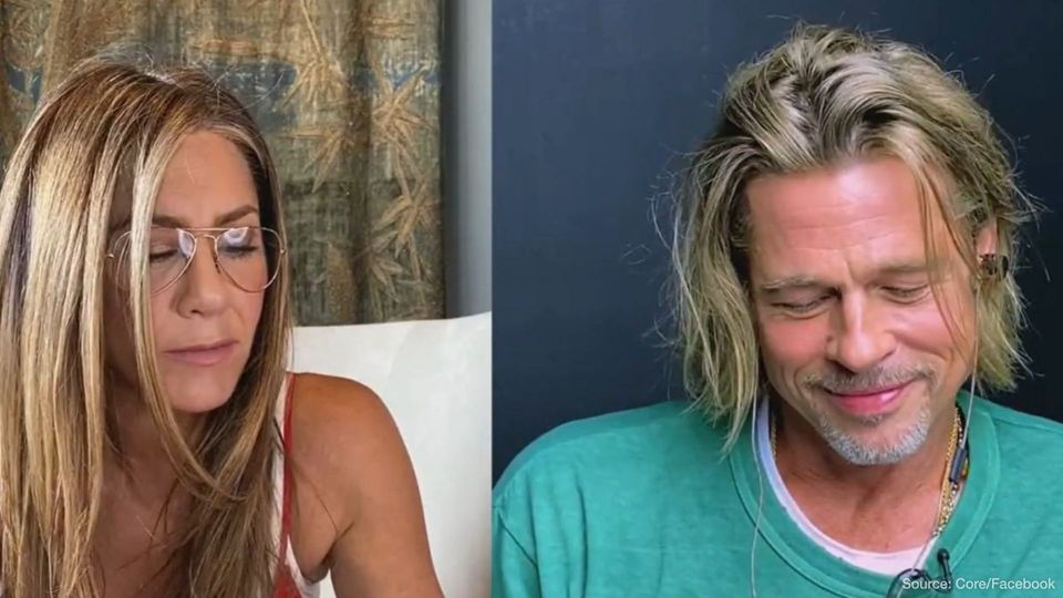 Exes Jennifer Aniston and Brad Pitt recreate flirty scene